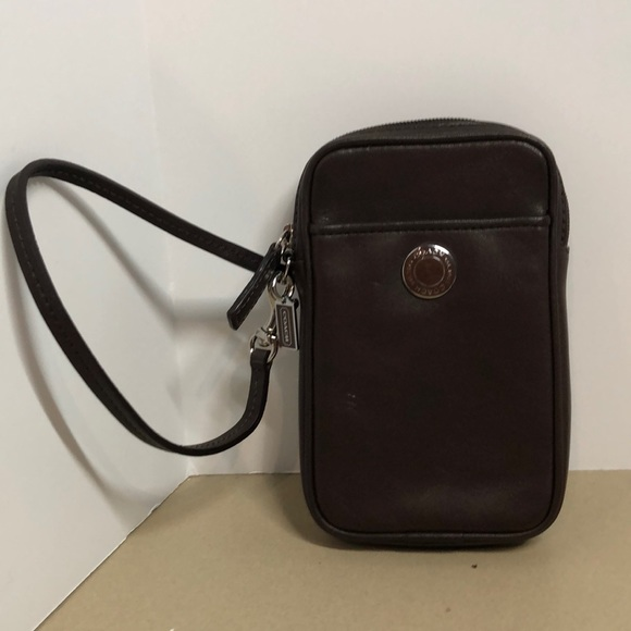Coach Handbags - COACH BROWN LEATHER WRISTLET CELL PHONE CASE